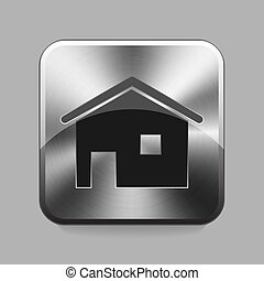 Chrome button - Home chrome or metal button or icon vector...