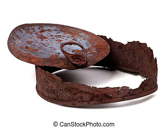 Rusty tincan on white background - Rusty tincan isolated on...