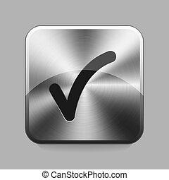 Chrome button - OK chrome or metal button or icon vector...