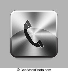 Chrome button - Phone chrome or metal button or icon vector...