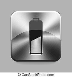 Chrome button - Battery chrome or metal button or icon...