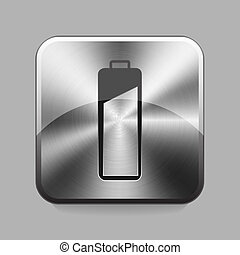 Chrome button - Battery chrome or metal button or icon...