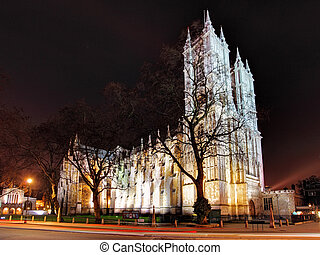 Westminster Abbey at night, London