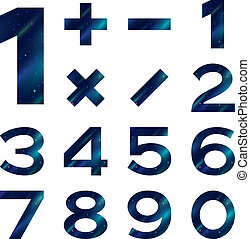 Numbers set, blue space - Set of numbers and mathematical...