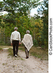 happy old people - Beautiful happy old people in the autumn...