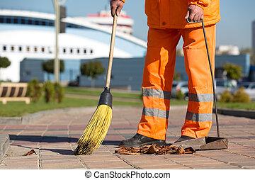 City sreet cleaning - Street sweeper cleaning city sidewalk...
