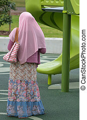 muçulmano, mulher, Desgastar, Hijab