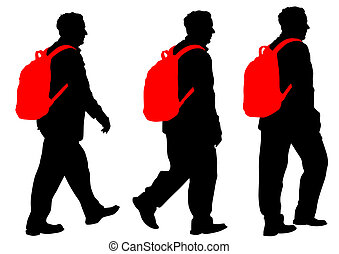 Man with backpack - Silhouette of man with backpack on white...