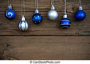 Blue and Silver Christmas Tree Balls on Wood - Six Blue and...