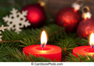 Closeup of a Candle with Christmas Decoration - Closeup of a...