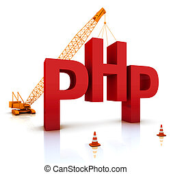 PHP Coding - Construction site crane building a blue PHP 3D...