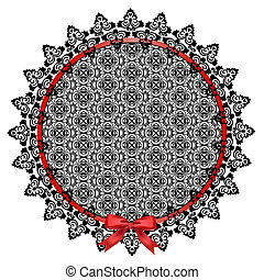 Black lace doily - Black openwork lace doily with a red bow