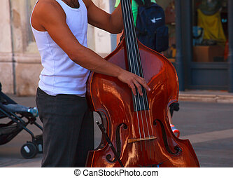 Street musician plays double bass - View of street musician...