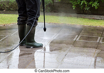 High Pressure Cleaning - 15 - Outdoor floor cleaning with...