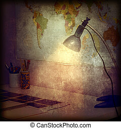 Desk and wall map retro background