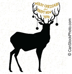 Hand drawn Christmass deer illustration - Hand drawn...