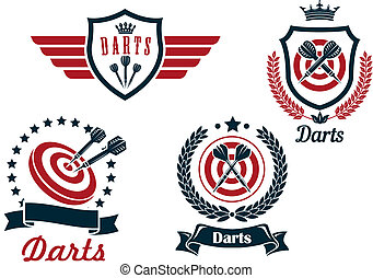 Darts heraldry emblems with arrows and dartboards, isolated...