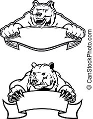 Angry bears mascots with banners - Strong angry bears with...