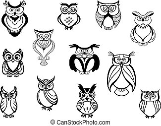 Cute owls and owlets set isolated on white background in...