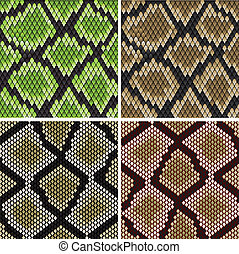 Seamless snake skin patterns - Seamless background of green...