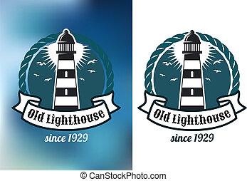 Nautical theme emblem with lighthouse - Marine emblem with...