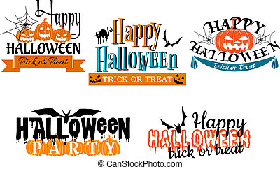 Halloween scary banners in cartoon style with pumpkin,...