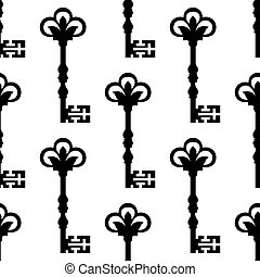 Old antique key seamless background pattern with a repeat...