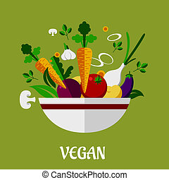 Colorful vegan poster with flat vegetable icons - Colorful...