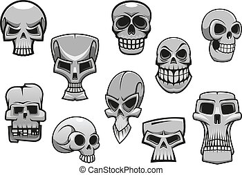 Cartoon human scary Halloween skulls for holiday design