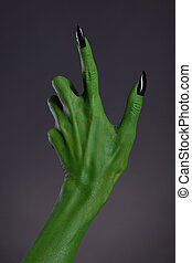 verde, feiticeira, mão, pretas, pregos, real,...