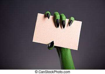 verde, monstro, mão, afiado, pregos, segurando, em...
