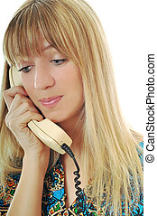 woman phone - young woman talking by old phone isolated on...