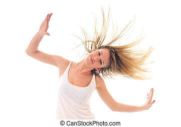 party woman isolated with wind in hair - young beauty happy...