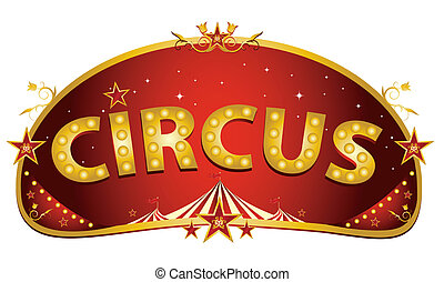 Magic red circus sign - A red and gold circus sign isolated...