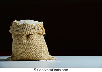 rice in burlap sack