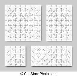 Puzzle Set - White - 4 puzzles - Puzzle Set - White - four...