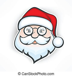Cheerful Santa face - Santa Claus cheerful face on white,...