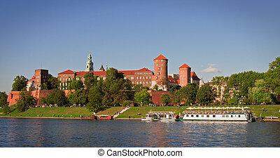 Wawel Castle. - Wawel Castle and Wistula . Krakow Poland.