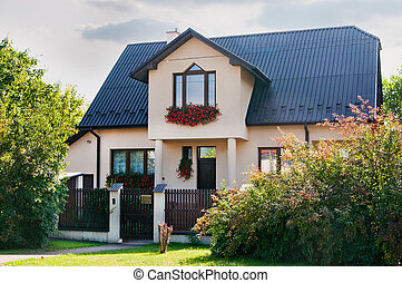 two-storey house  - beautiful two-storey house with flowers