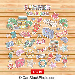 Summer vacation scrap setScrapbook setStickerWith themed...