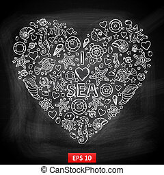 Chalk board I love Sea in the form of heart,with a variety...