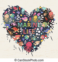 Marine life on the background of colorful blots, inks,themed design with elements