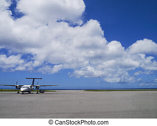 Airport apron of Yonaguni Airport, westernmost airport of...