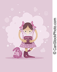 Girl playing with smartphone in hands