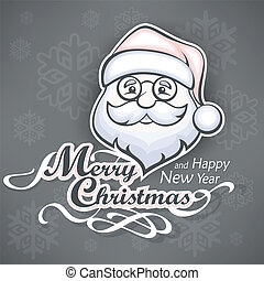Cheerful Santa face on grey - Santa Claus cheerful face on...