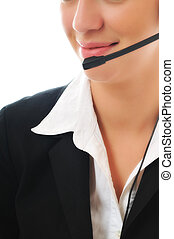 business woman with headset - young beautiful business woman...