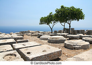 Ancient Thera on Santorini - Archaeological dig of Ancient...