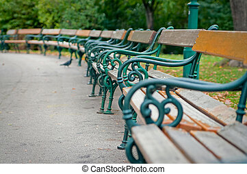 benches  - lots of empty benches in the park