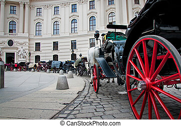 stagecoaches with horses in Vienna, Austria.