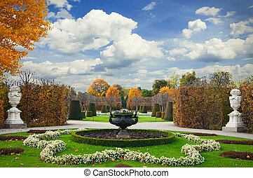 Schonbrunn - beautiful autumn garden. Schonbrunn, Vienna